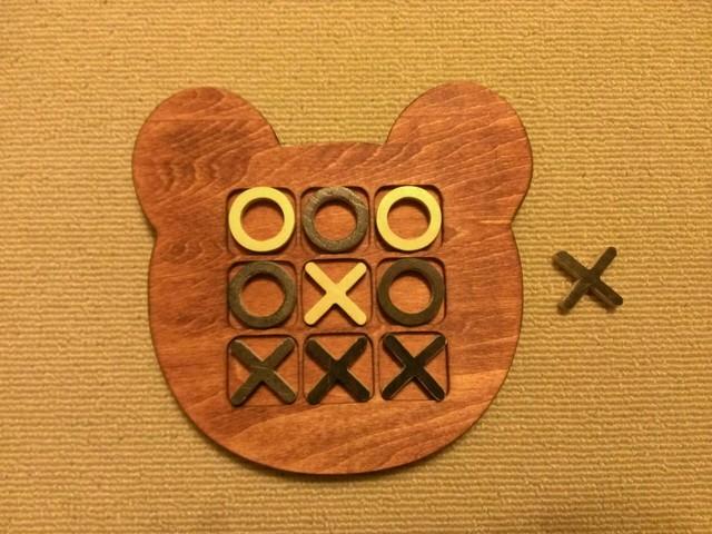 木製クマ型マルバツ(○×)ゲーム☆チェリー
