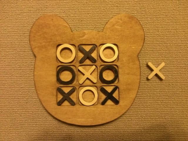 木製クマ型マルバツ(○×)ゲーム☆ミディアムウォルナット
