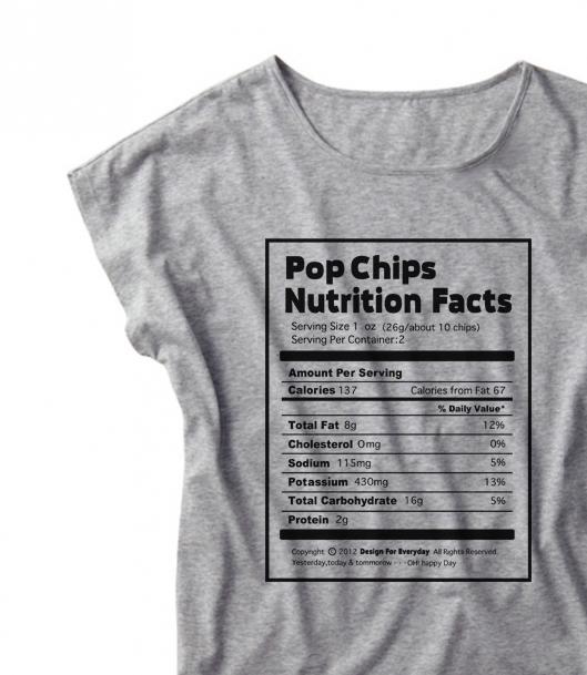 【注意!薄手生地】Nutrition Facts(栄養成分表) ドルマンTシャツ【受注生産品】