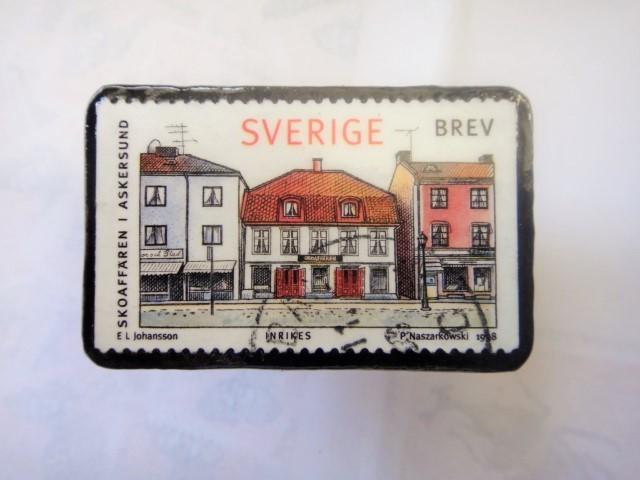 スウエーデン 切手ブローチ1327