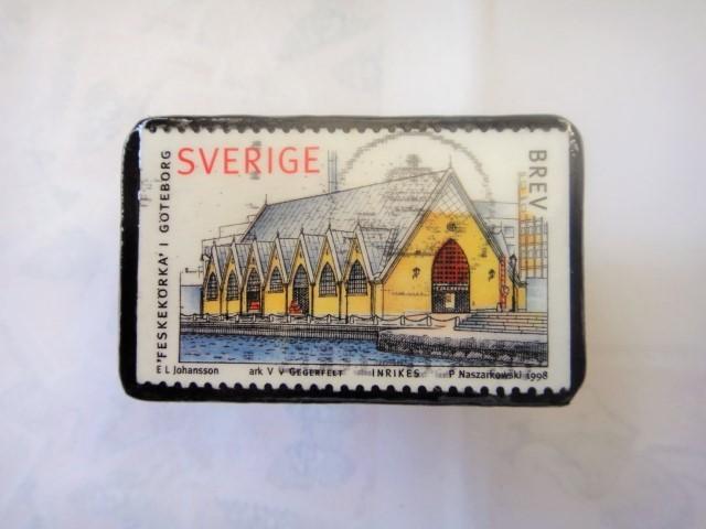 スウエーデン 切手ブローチ1328