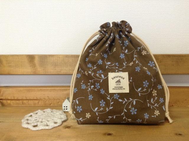 可愛い巾着袋*ブラウン×ブルー花柄♪