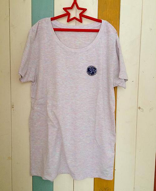 片胸バンダナスマイルTシャツ(ブルー)