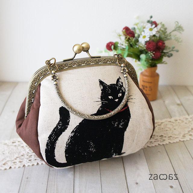 がま口手提げバッグ*気まぐれな黒猫