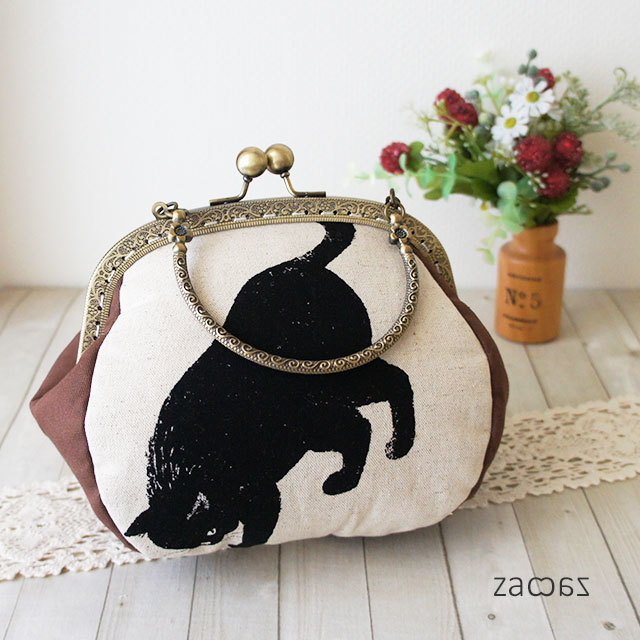 【販売終了】がま口手提げバッグ*気まぐれな黒猫D