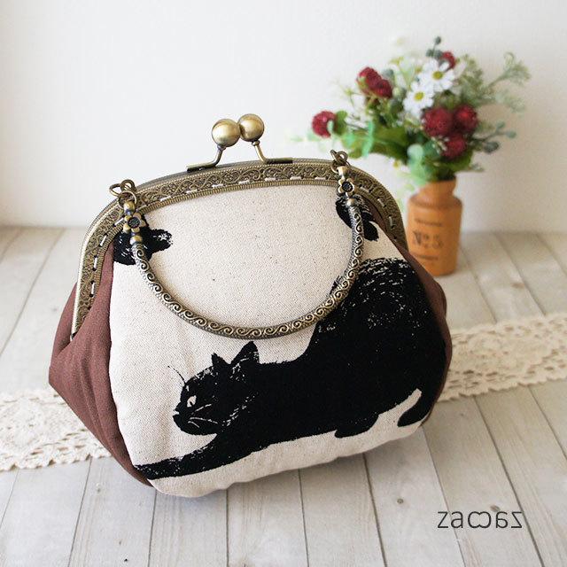 【販売終了】がま口手提げバッグ*気まぐれな黒猫E