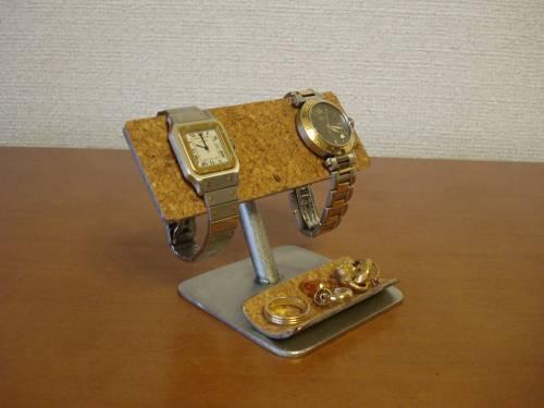 トレイ付きコルクバー2本掛け腕時計スタンド
