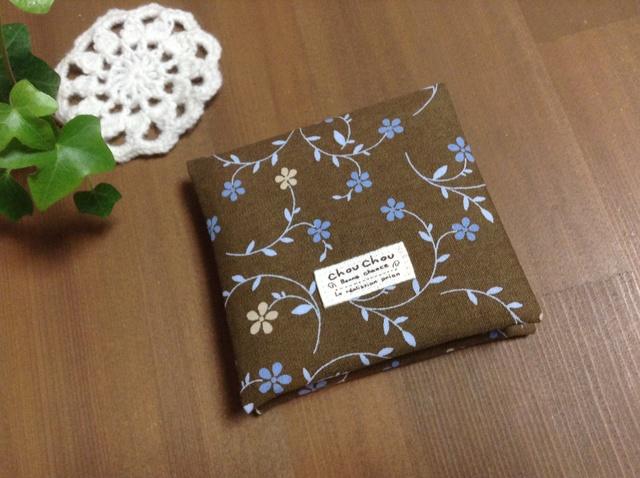 【送料無料】ポーチ*サニタリーケース*ブラウン×ブルー花柄♪タグ付き☆