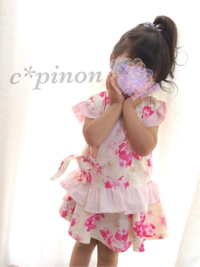 ac0cccc85dbfb 桜柄 ふりふり甚平ドレス♡ピンク 女の子 甚平 和柄