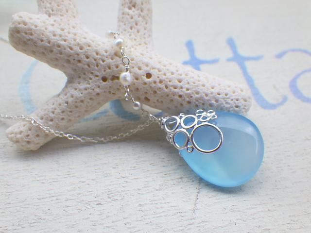 ☆再販☆  海の泡カルセドニードロップのネックレス/海の泡パール sv925
