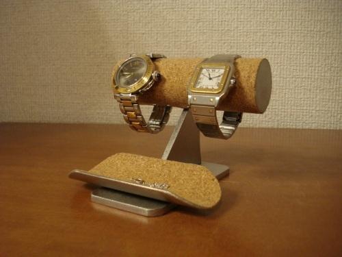 ウォッチスタンド 2本掛けトレイ付き時計スタンド