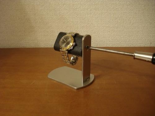 腕時計スタンド プラスドライバーでだ円パイプの角度を変えられるブラック腕時計スタンド