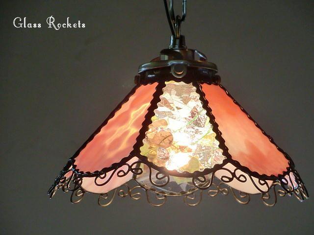 ステンドグラス 「キャンディーピンク」 ペンダント 照明 ライト ランプ