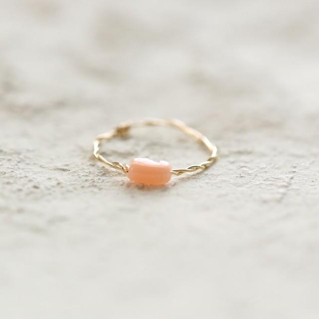 [K14gf] ピンクオレンジコーラル(珊瑚)*ゴールドフィルド巻きリング
