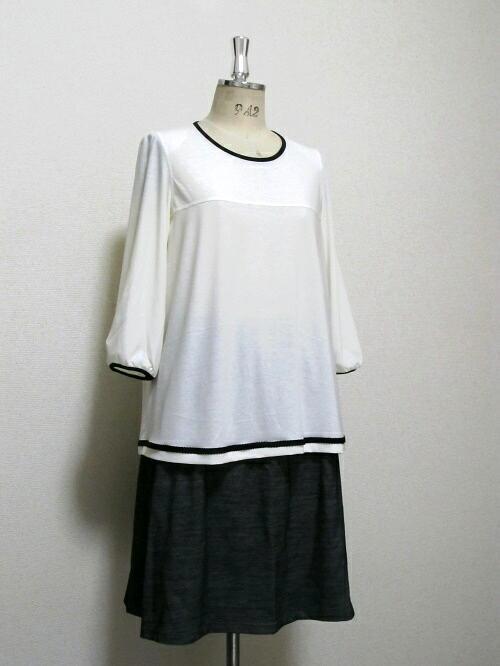 高級綿のAライン七分袖ブラウス