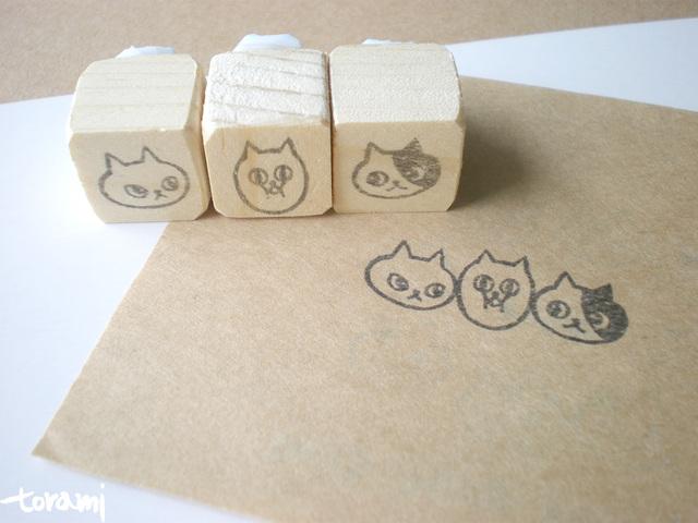 猫の顔+何かのはんこセット3