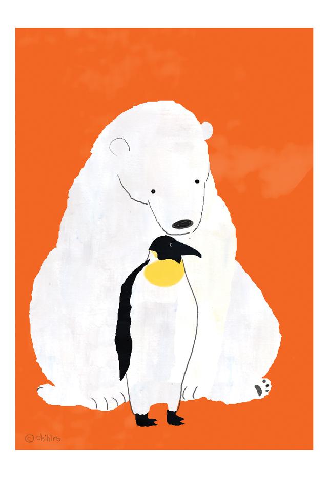 シロクマとペンギン (ポストカード2枚...
