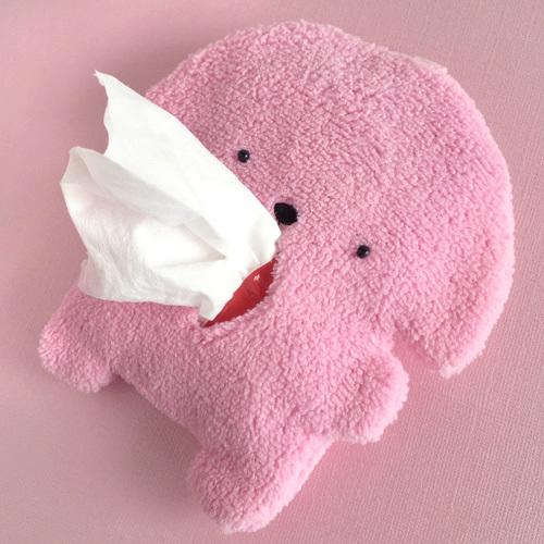 もふいぬティッシュケース ピンク