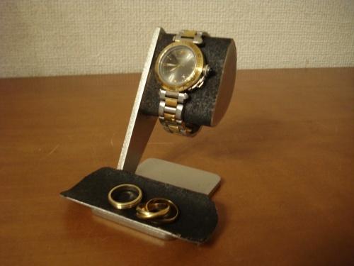腕時計スタンド 彼氏に!ブラック半円トレイ付き腕時計スタンド