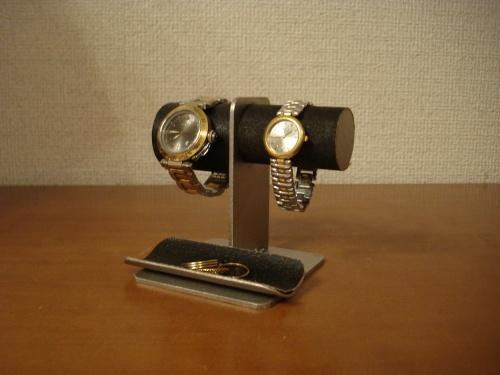 腕時計スタンド 左男性用、右女性用トレイ付きブラック腕時計スタンド