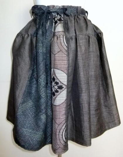 着物リメイク 大島紬で作った膝丈スカート 1655