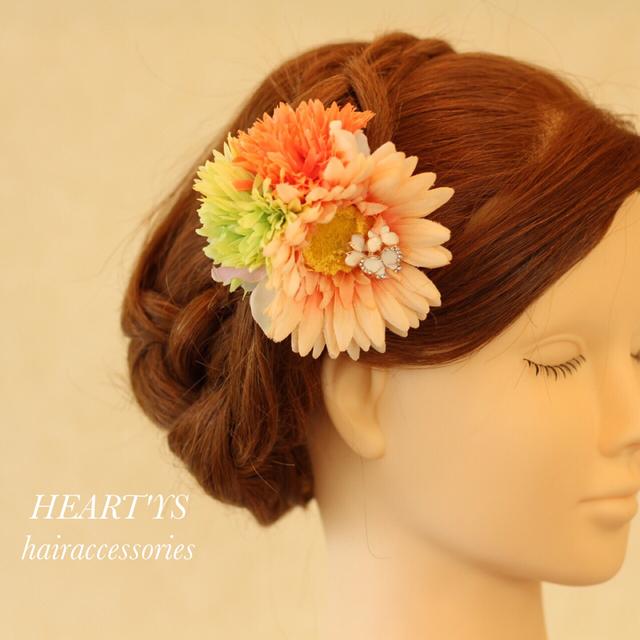 *浴衣に似合う!マーガレットとアリスの髪飾り♪グリーン&オレンジ【送料無料】