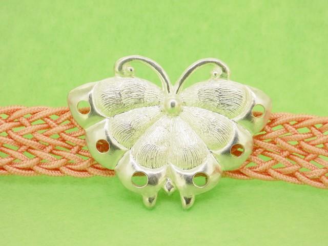 銀細工帯留 胡蝶 三分紐用