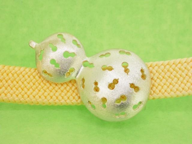 銀細工帯留 虫食いひょうたん【送料無料です】