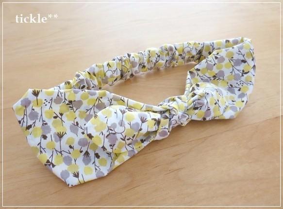 yellow flower* 2way リボンヘアバンド