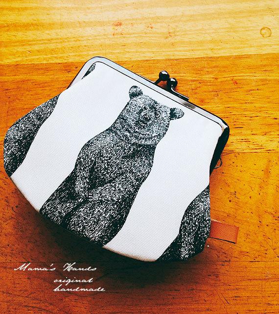 ★残り1★ クマ リネン お財布 ポーチ カード入れ等♪