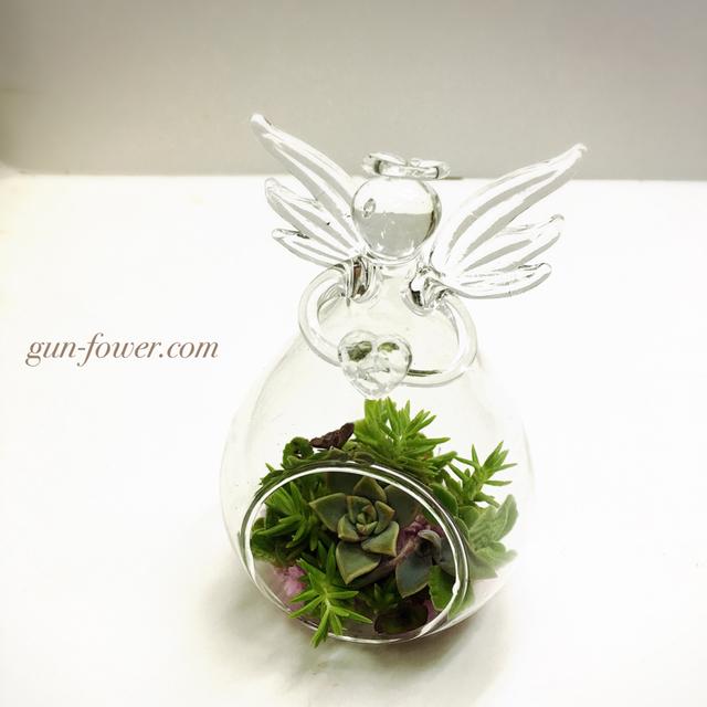 天使のガラス花器サキュレント寄せ植え...