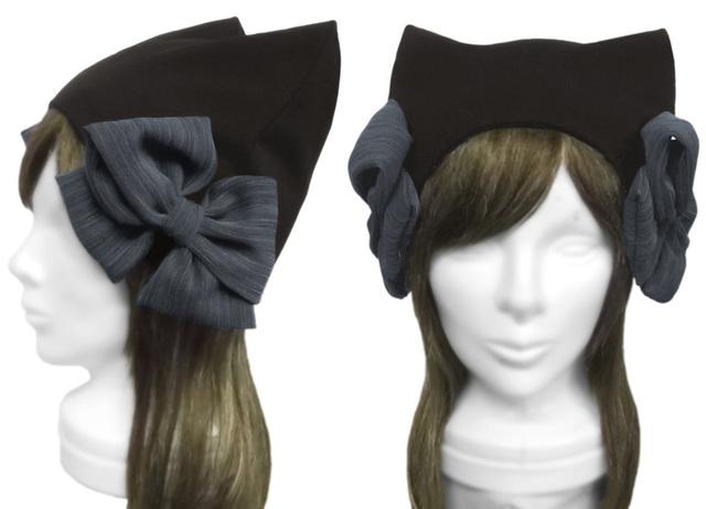 リボン飾り/ネコ耳帽子(ゆったり)◆コットンニット/黒