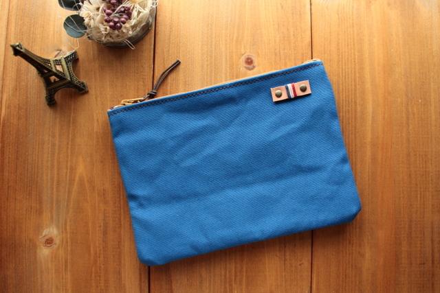 H956 帆布の中ポケット付きポーチ Mサイズ -ブルー-