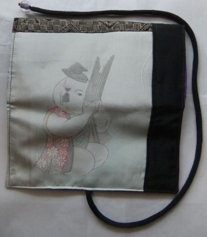 着物リメイク 羽織裏と大島紬で作った和風お財布 1659