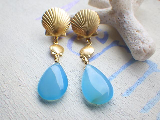☆再販☆ Mermaid earrings〜シーブルーカルセドニーイヤリング