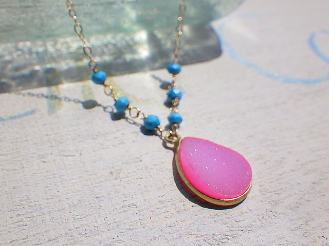 Druzy Beach Necklace---pink druzy