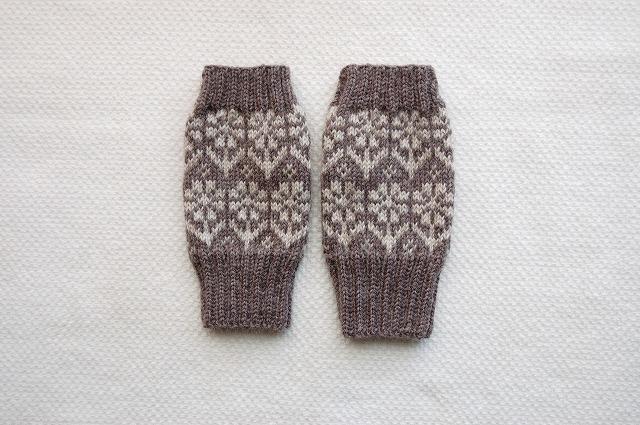 手編みの指なしミトン 【花園】