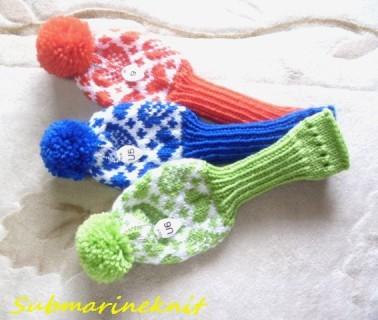 ハート柄手編みヘッドカバー chika0710様セミオーダー品