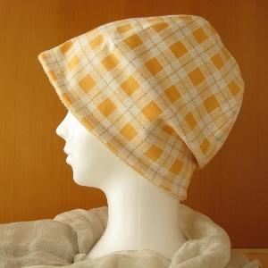 ゆるいリバーシブル帽子 オレンジチェック/生成りタオル(CSR-001-C)