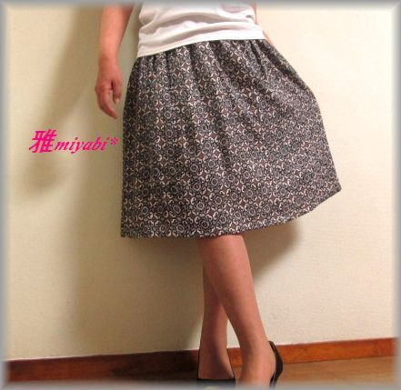 裏付きふんわり絹の上品大人着物ティアードスカート
