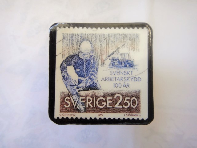 スウエーデン 切手ブローチ1333