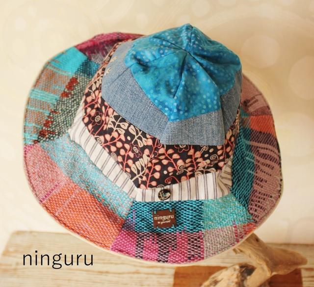 blueの手織りグラデーション チューリップハット