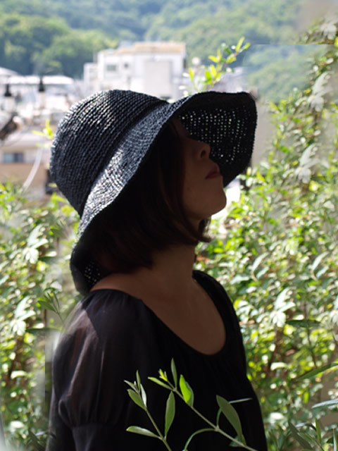 2114626様ご注文品 つば広夏帽子 ブラ...