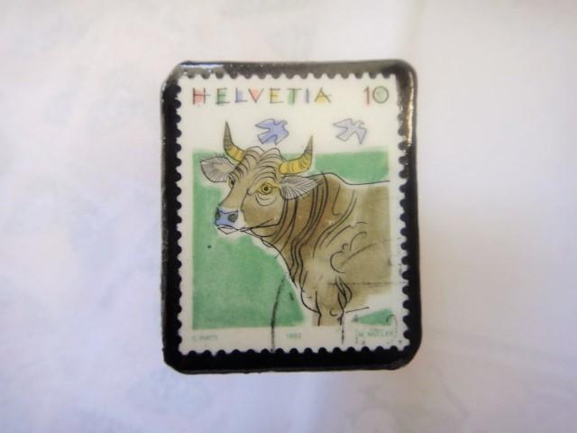 スイス 切手ブローチ1337