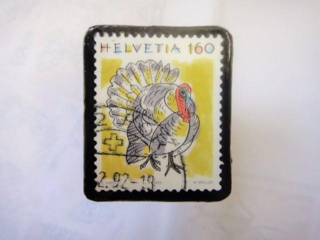 スイス 切手ブローチ1338