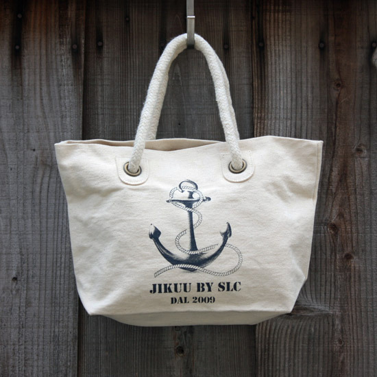 【JIKUU】 キャンバスマリンミニランチトートバッグ『アンカー』