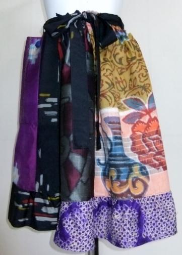 着物リメイク 絞りと銘仙の着物で作った膝丈スカート 1664