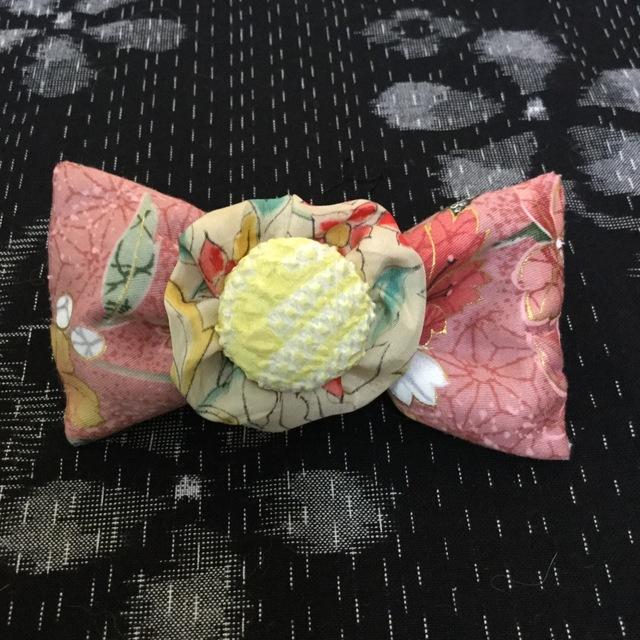 浴衣に合う和柄のバレッタ(ピンク)