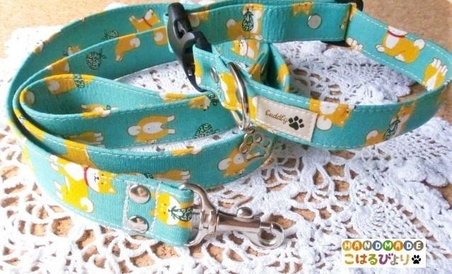 【再販 受注制作】柴犬柄の犬用首輪とリードセット(グリーン)