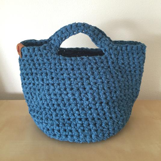 裂き編みバッグ  (青)